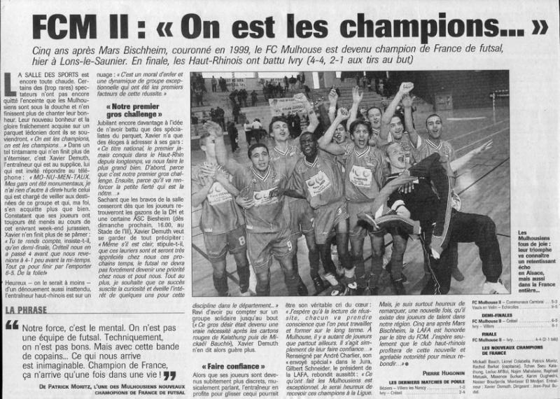 [Futsal] Le FCMII champion de France en 2003-04 On_est10