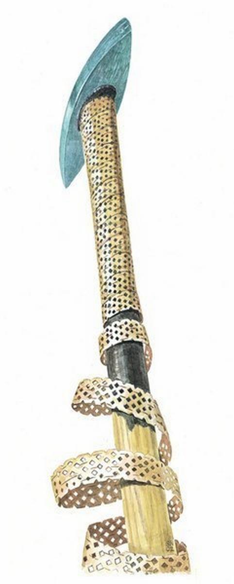 """Manche de """"sceptre""""/hache perforée; décor=écorce de bouleau 73934810"""