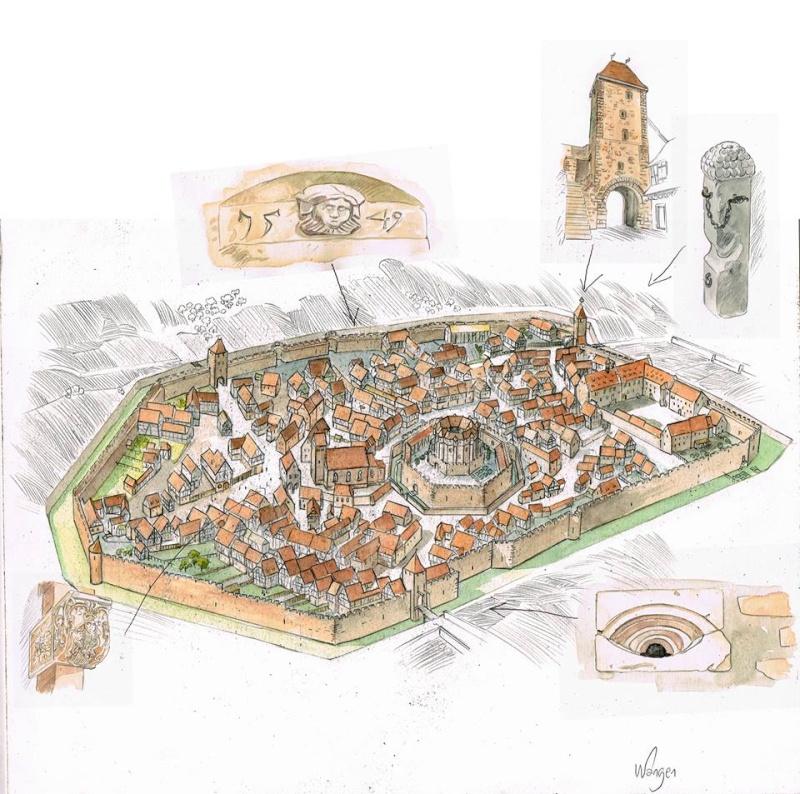 """La """"ville"""" de Wangen  avant la guerre de trente ans, imaginée et illustrée par Christophe Carmona 12011110"""
