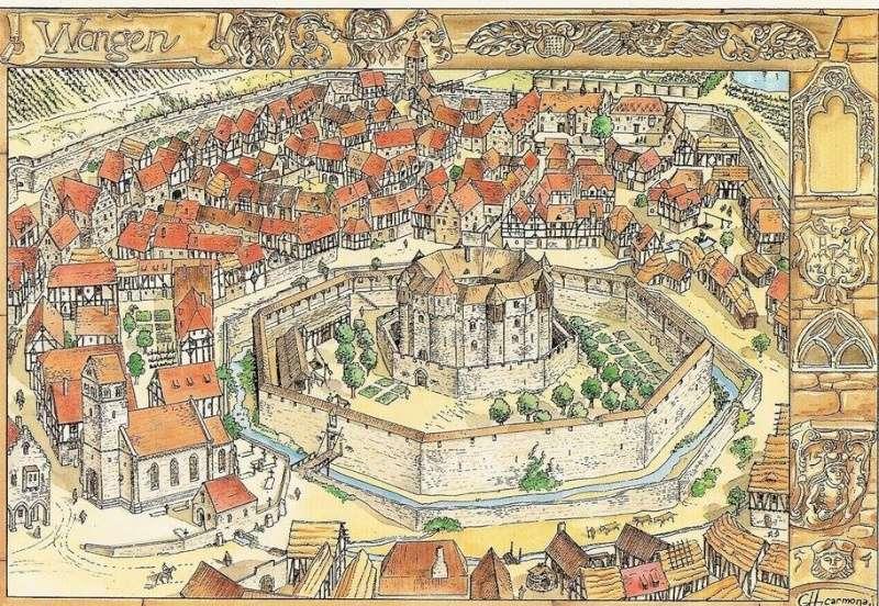 """La """"ville"""" de Wangen  avant la guerre de trente ans, imaginée et illustrée par Christophe Carmona 12020010"""