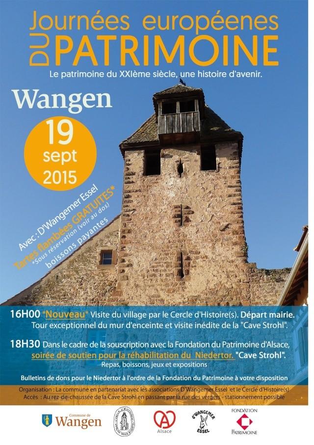 Wangen: journée européenne du patrimoine samedi 19 septembre 2015 Affich11
