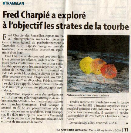 Journal Quotidien jurassien - 28/09/2010 - Fred Charpié a exploré à l'objectif les strates de la tourbe Quot_j12