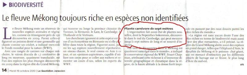 Journal Quotidien jurassien - 19/10/2010 - Le fleuve du Mékong toujours plus riche en espèces non identifiées Quot_j13