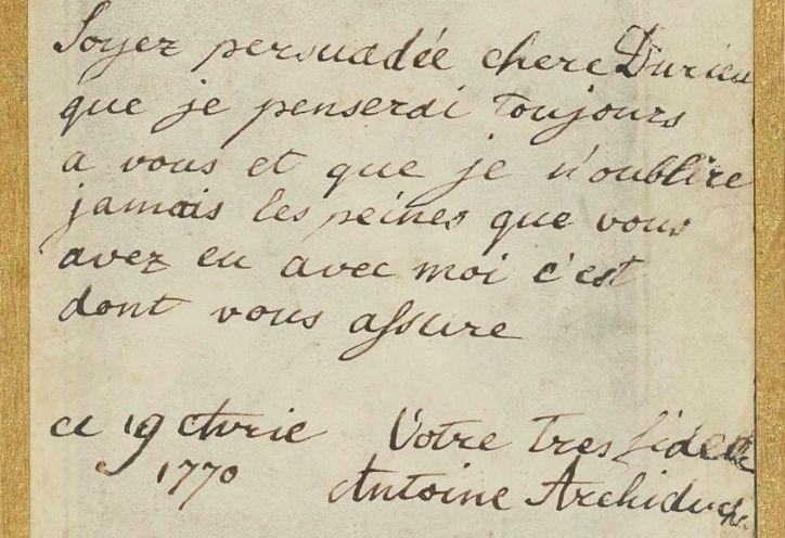 Mot de Marie Antoinette à sa femme de chambre. 19 avril 1770 Lettre10