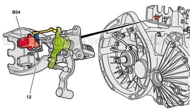 (W168): B54 - Sensor do ângulo de giro do sentido de mudança - câmbio semiautomático Md_b5411