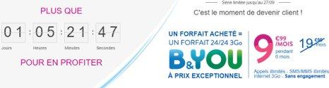 Dernières heures pour bénéficier du forfait B&YOU 3Go à 9,99€ au lieu de 19,99€ 786out10