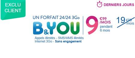 Dernières heures pour bénéficier du forfait B&YOU 3Go à 9,99€ au lieu de 19,99€ Promob11