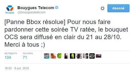 Bouygues Telecom offre le bouquet OCS en clair, pour s'excuser de la panne Tweetb10