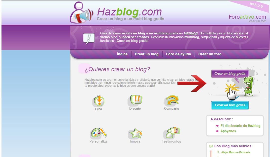 Cómo crear un blog en Hazblog Blog_h10