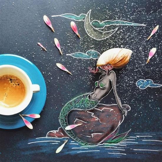 Chùm tranh sáng tạo độc đáo từ ly cafe sáng  Cafe1010