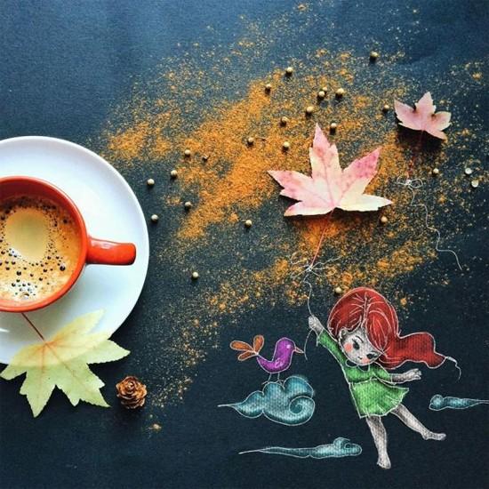 Chùm tranh sáng tạo độc đáo từ ly cafe sáng  Cafe1110