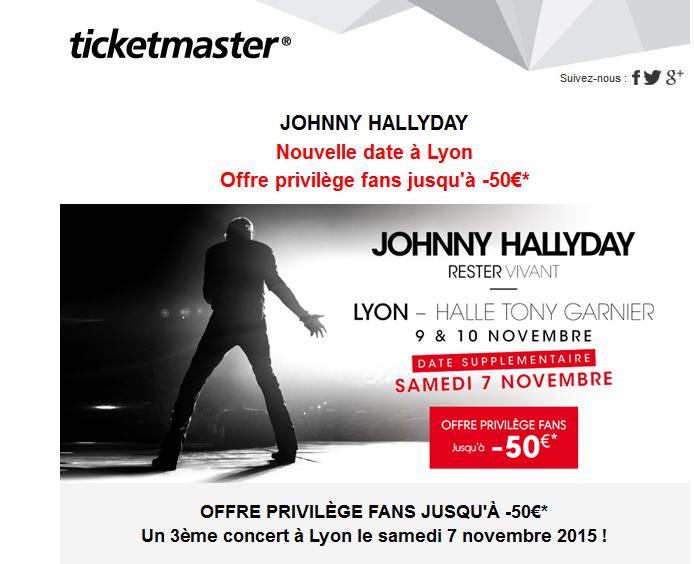 Ticket master Offre privilège fans jusqu'à -50€* pour le concert de johnny Captur11