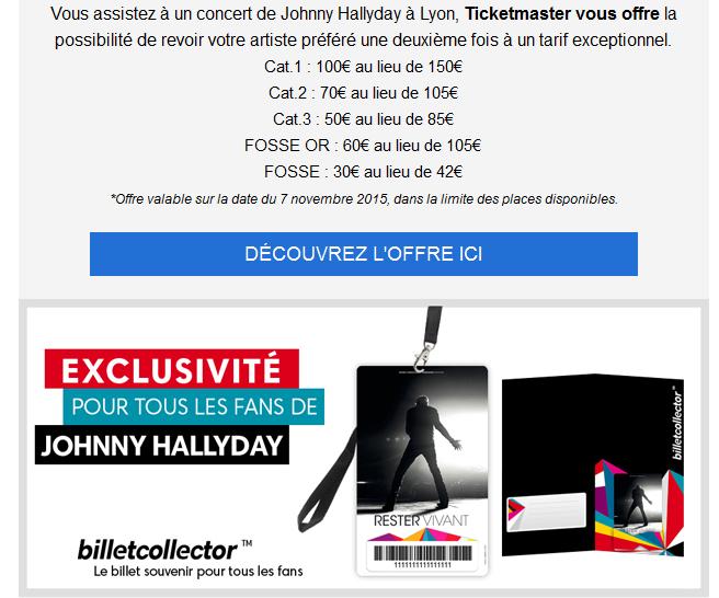 Ticket master Offre privilège fans jusqu'à -50€* pour le concert de johnny Captur12