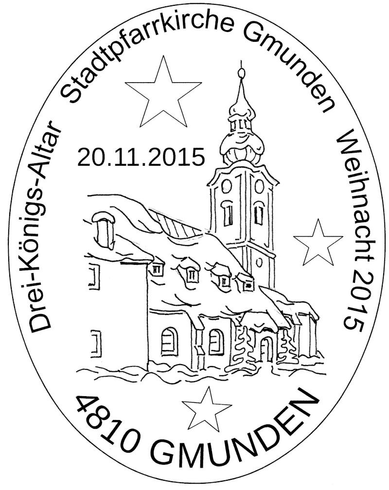 """Postkartenausgabe 2015 - """"Dreikönigsaltar, Gmunden"""" 15112010"""
