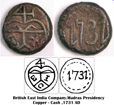 """Cash des Indes britanniques """"Présidence de Madras"""" Km30210"""