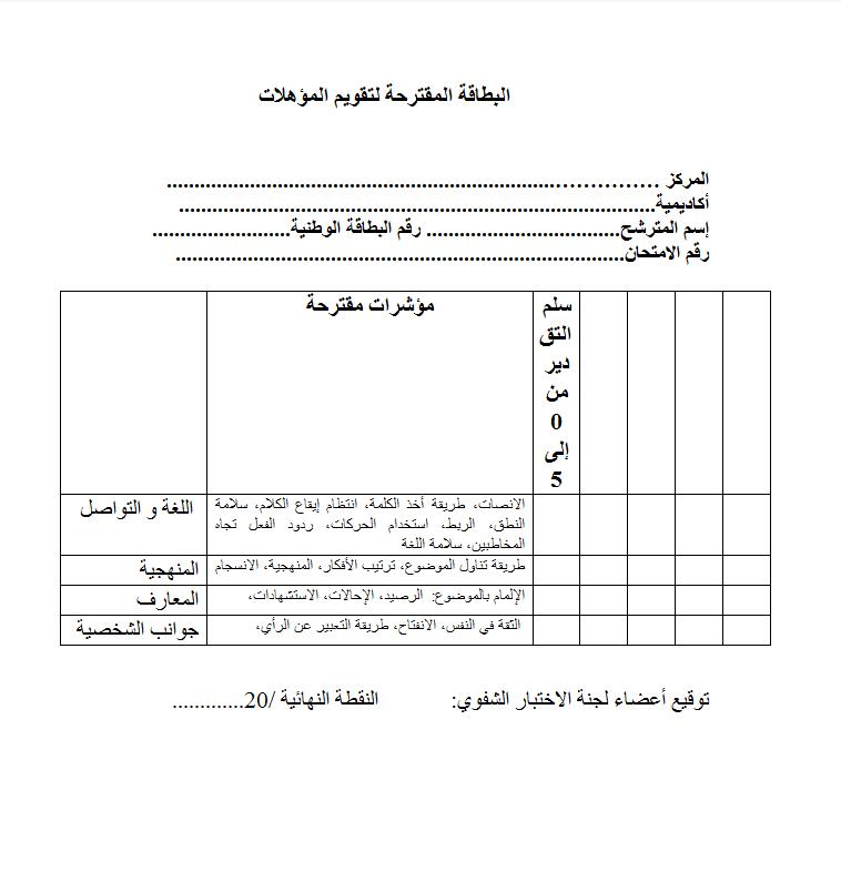 بطاقة تقويم المؤهلات الخاصة بلجنة الإختبار الشفوي لمباراة ولوج المراكز الجهوية لمهن التربية والتكوين Cartgf10