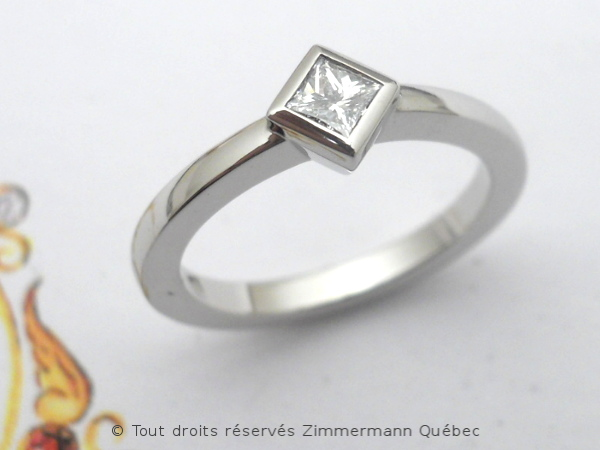 Solitaire palladium avec diamant taille princesse 14/100 ct Dscn7816