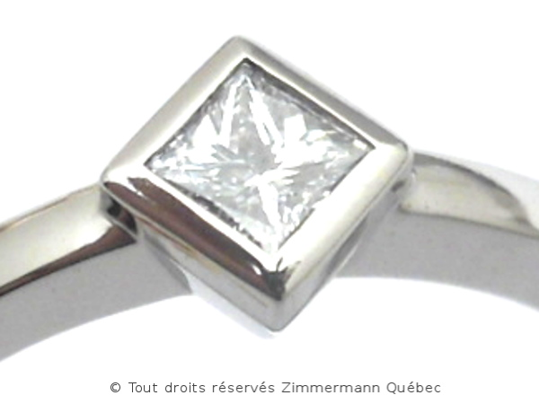 Solitaire palladium avec diamant taille princesse 14/100 ct Dscn7817