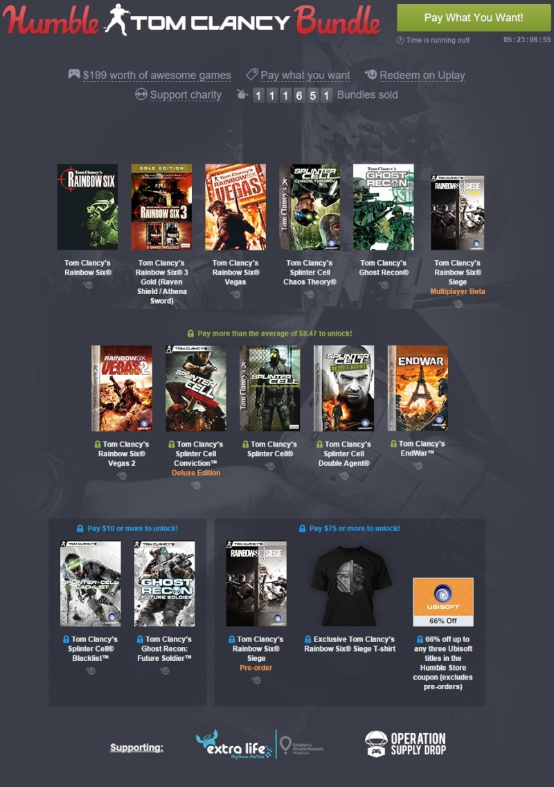 [Bundle] 6 jeux Ubisoft Tom Clancy's pour 1$ Nouvel14