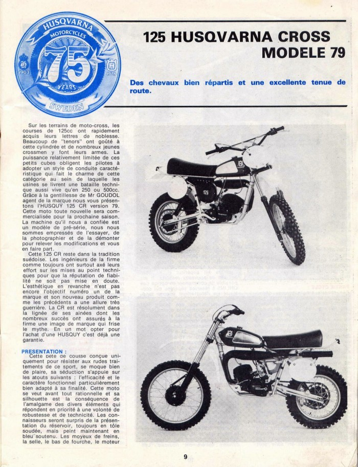 Essai de l 'HUSQVARNA 125 CR/ CROSS 1979 25076913