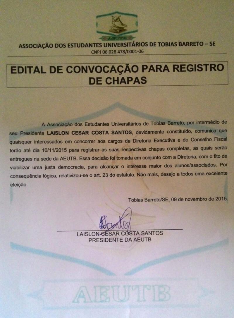 EDITAL DE CONVOCAÇÃO DE CHAPAS 20151110