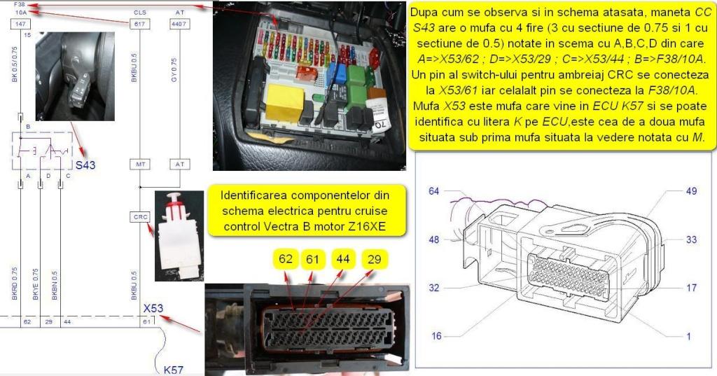 Tutorial montare/activare cruise control pe Vectra B Z16XE 610
