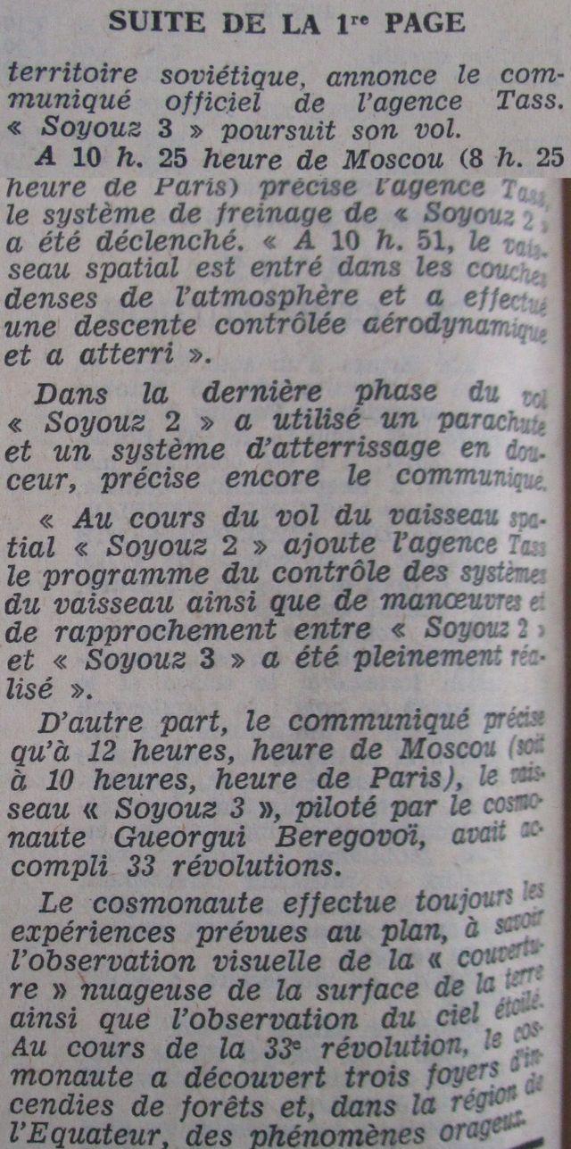 26 octobre 1968 - Soyouz 3 - Gheorghui Beregovoï 68103011