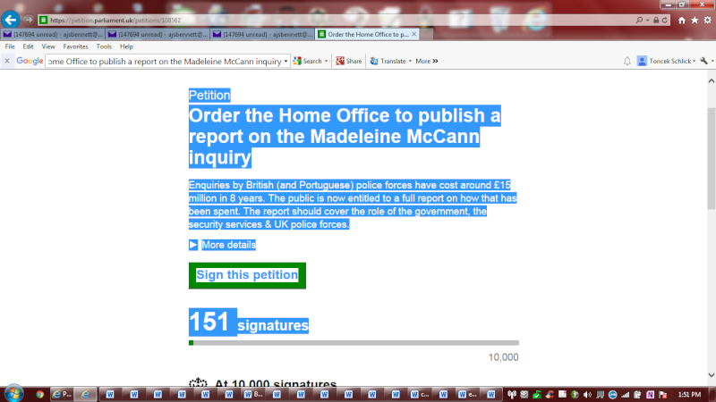 [Petition closed, with 3,111 signatures] MADELEINE MCCANN PETITION ON PM's WEBSITE CALLING FOR A FULL REPORT FROM OPERATION GRANGE Petiti11