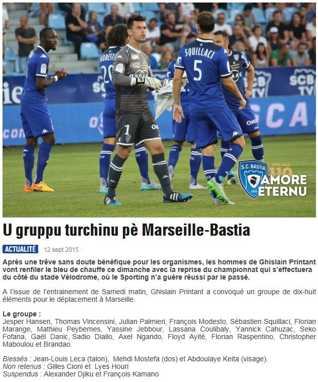 J5 / Jeu des pronos - Prono Marseille-Bastia S21