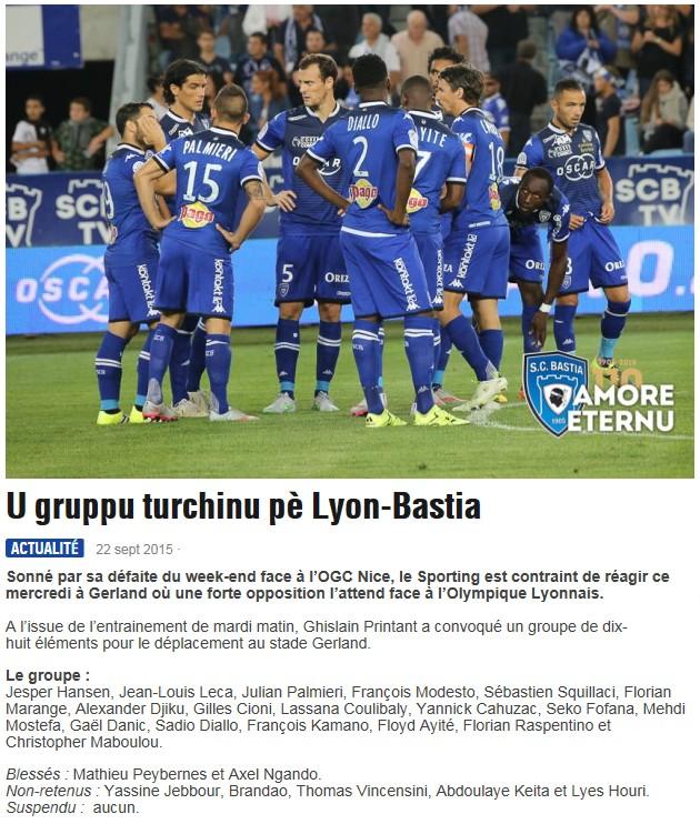 J7 / Jeu des pronos - Prono Lyon-Bastia S42