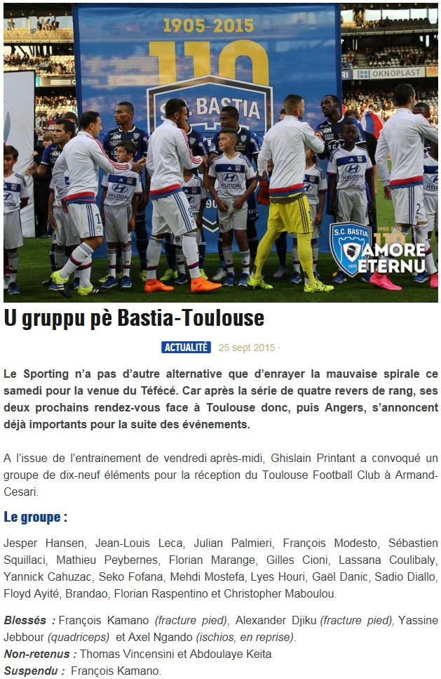 J8 / Jeu des pronos - Prono Bastia-Toulouse S49