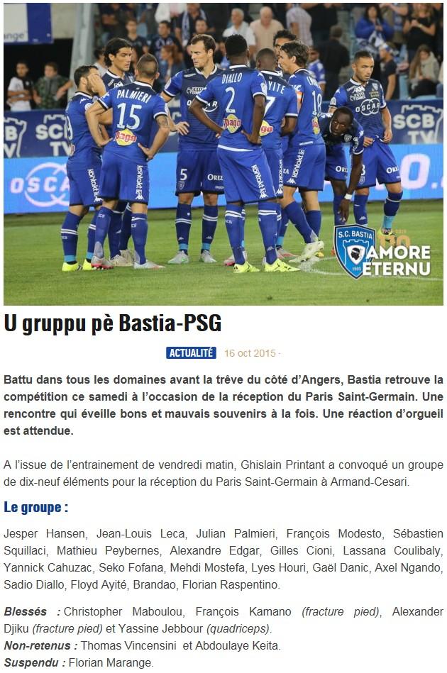 J10 / Jeu des pronos - Prono Bastia-PSG S70