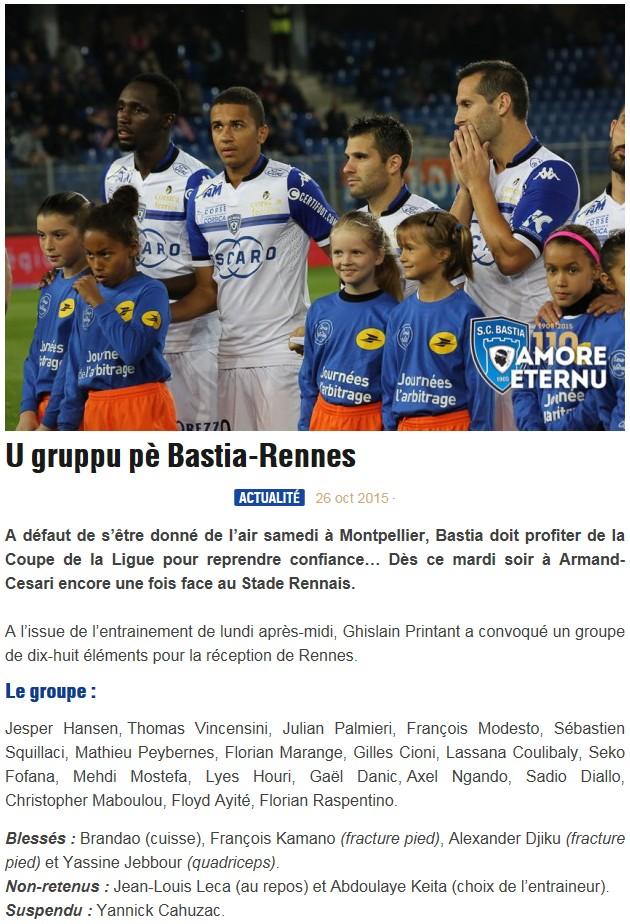 16CdL / Jeu des pronos - Prono Bastia-Rennes S92