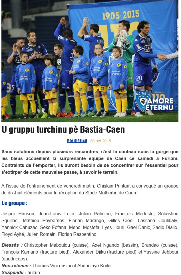 J12 / Jeu des pronos - Prono Bastia-Caen S96