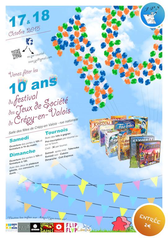 10ème Festival des Jeux de Crépy-en-Valois les 17 & 18 octobre 2015 Affich10