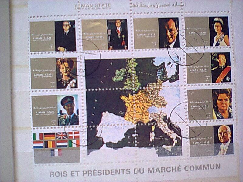 feuillet bloc de timbres rois et presidents Europe AJman Ul quam Timbre19