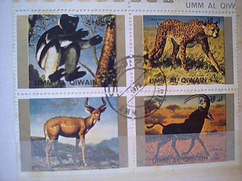 Bloc feuillet timbres collection Um quam ajman animaux en voie de disparition Timbre24