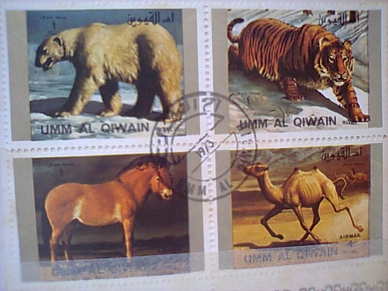 Bloc feuillet timbres collection Um quam ajman animaux en voie de disparition Timbre26
