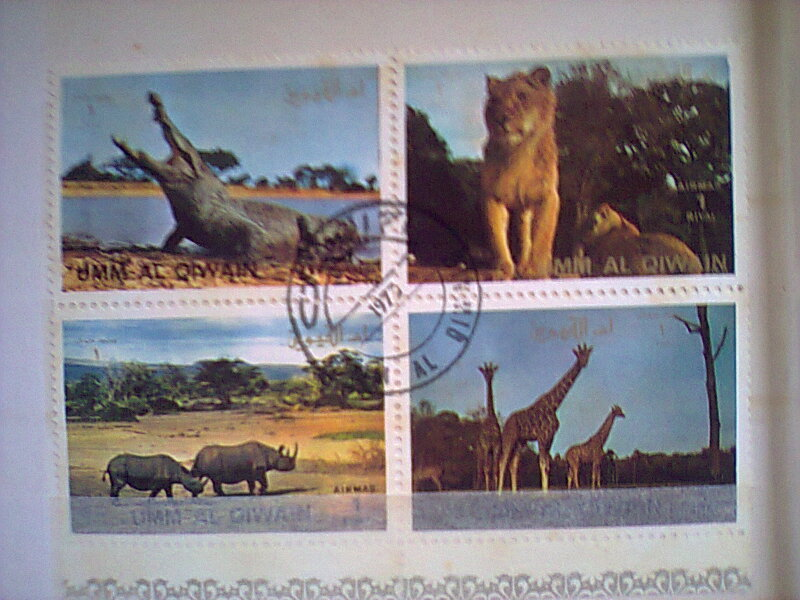 Bloc feuillet timbres collection Um quam ajman animaux en voie de disparition Timbre27