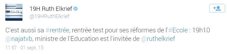 Najat Vallaud-Belkacem sur bfm le 1 sept 2015 à 19h10. Screen11