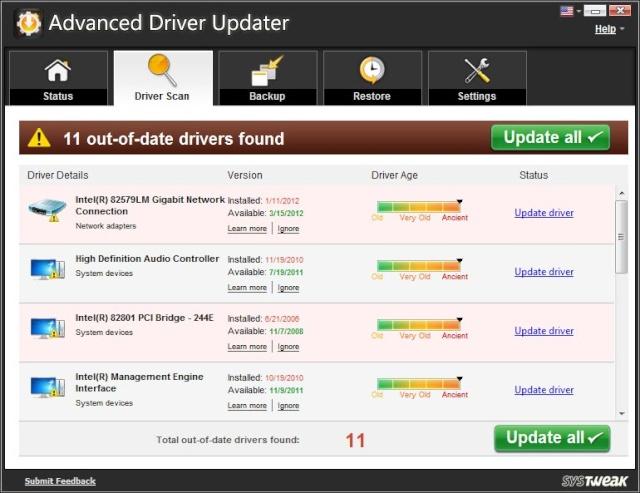 Advanced driver updater 2.7- Phần mềm cập nhật driver Advanc10