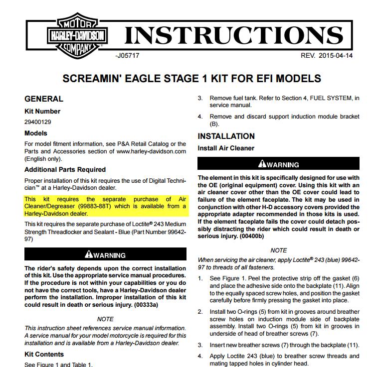 Filtre à air stage 1 screamin' eagle 28-09-10