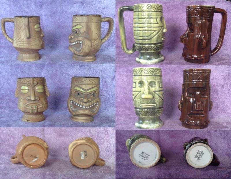 tiki mugs, Hawaiian style, including tiki farm and Studio Ceramics Tikis110
