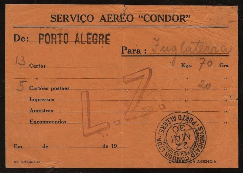 """nach - Südamerikafahrt 1930 (Rundfahrt-) Post nach Friedrichshafen"""" - Seite 6 Briefz10"""