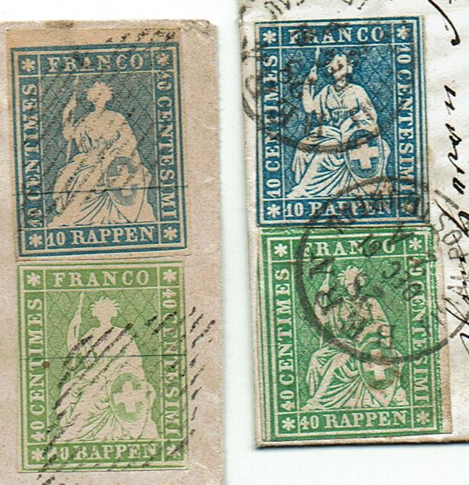 """Schweiz 1854-1863 """"Strubel"""" Sitzende Helvetia Ungezähnt Strube10"""