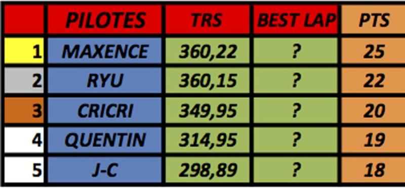 résultats championnat GT40 Mk1 Slot-it  (voitures fournies) M410