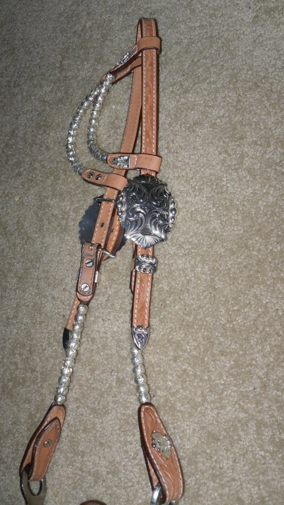 Billy Royal Western Headstall 2 ear light oil FOR SALE Sdc11011