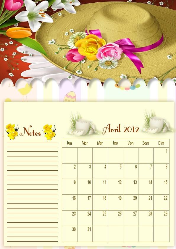 CALENDRIERS ORIGINAUX DES MOIS DE L ANNEE PAR ORDRE ALPHABETIQUE - Page 2 Avril_11