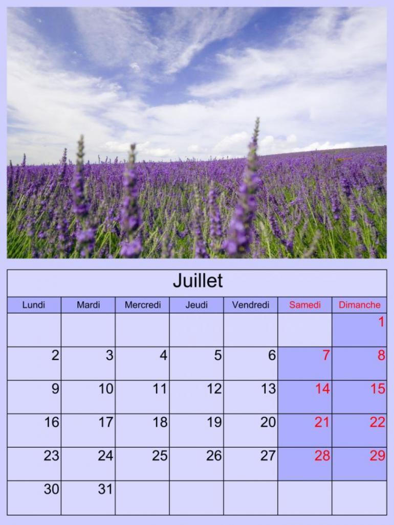 CALENDRIERS ORIGINAUX DES MOIS DE L ANNEE PAR ORDRE ALPHABETIQUE - Page 3 Juille13