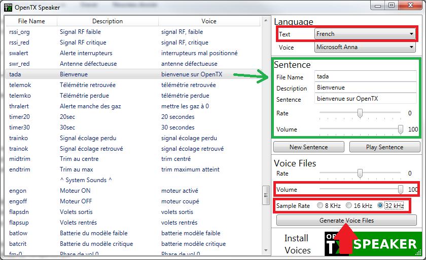 [Tuto]Créer ses annonces vocales avec OpenTX Speaker (Windows only) Opentx12